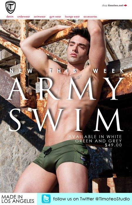 The all new Army Swimwear is a sexy squarecut featuring a side pocket and ...