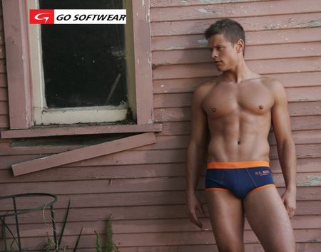 Picture About Male Model John Cherland in the Go Softwear Boy Brief and US Navy Swimsuit
