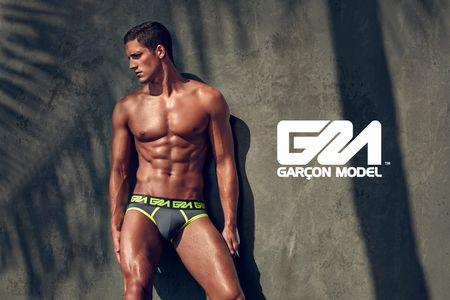 Garcon Model underwear - Brief-Grey-&-Lime-Bay-Road-Wall-HIGH-RES-WEB